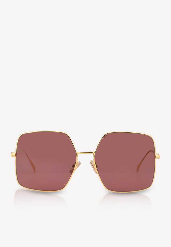 Fendi Baguette Square Frame Sunglasses 716736345949BURGUNDY 1