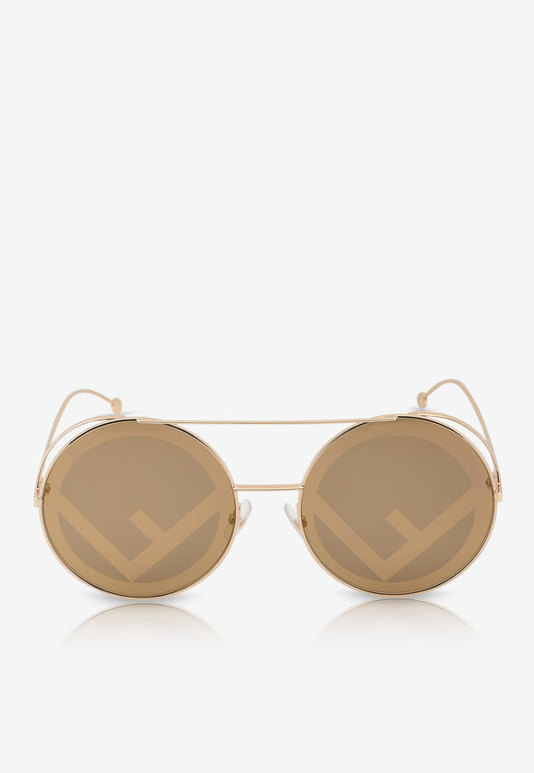 Fendi Polarized Round Sunglasses 716736320816BROWN 1