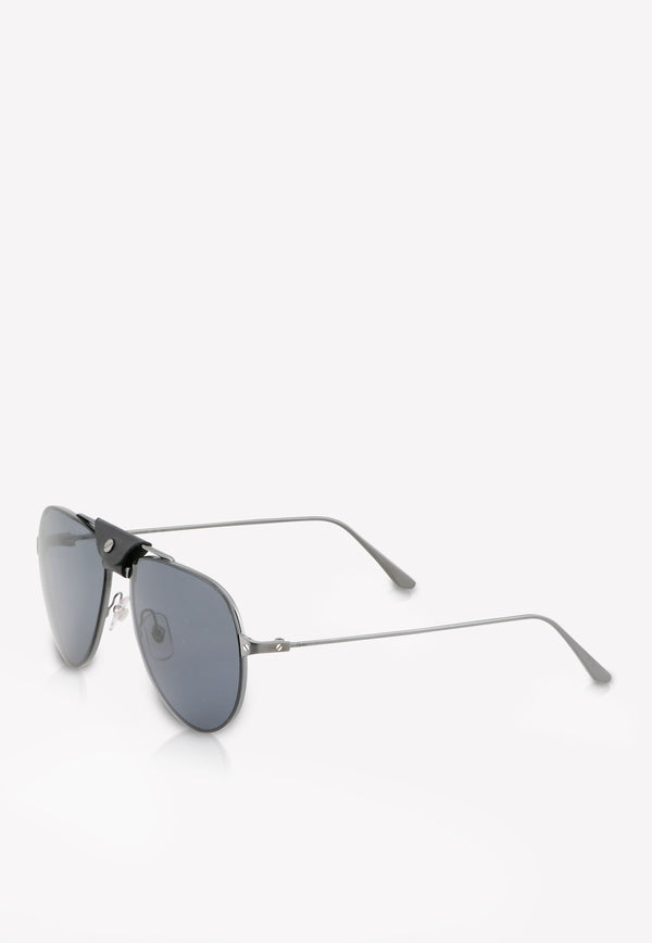 Cartier Leather Detail Aviator Sunglasses 843023137106BLACK 2