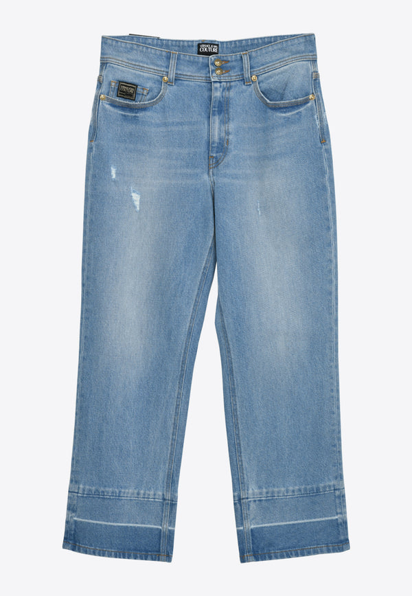 Versace Jeans High-Waist Cropped Jeans Blue- A1HWA0TILIGHT BLUE