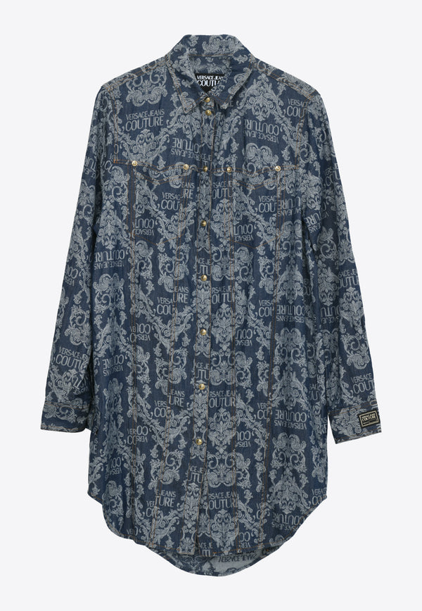 Versace Jeans Blue Baroque Print Shirt Dress- B0HWA68SNAVY