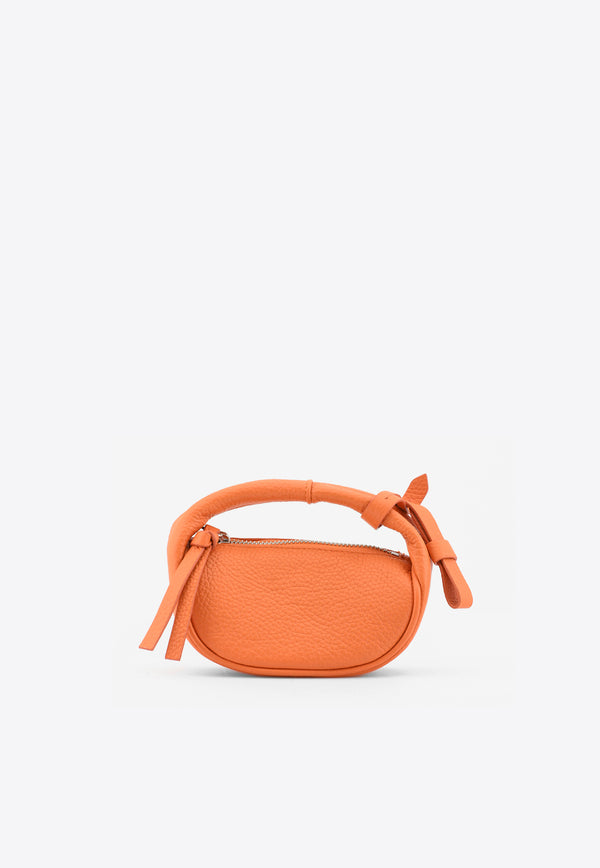 By Far Orange Micro Cush Top Handle Bag in Grained Leather 21SSMICSPAPFLTSMAORANGE