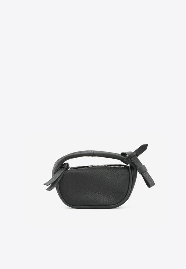 By Far Black Micro Cush Top Handle Bag in Grained Leather 21SSMICSBLFLTSMABLACK