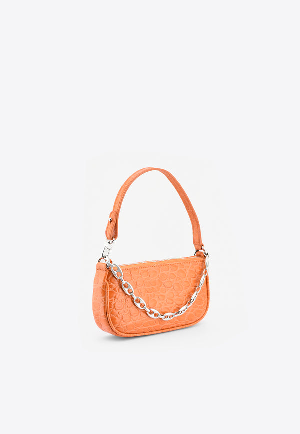 By Far Orange Mini Rachel Shoulder Bag in Circular Croc-Embossed Leather 21SSMIRAPAPCCESMAORANGE