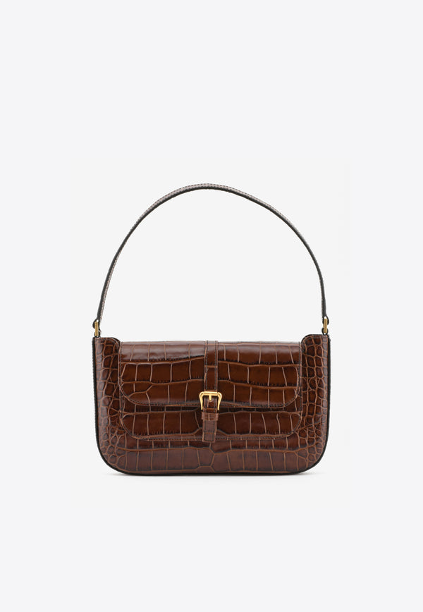 By Far Brown Miranda Shoulder Bag in Croc-Embossed Leather 19PFMDASNEDMEDDARK BROWN