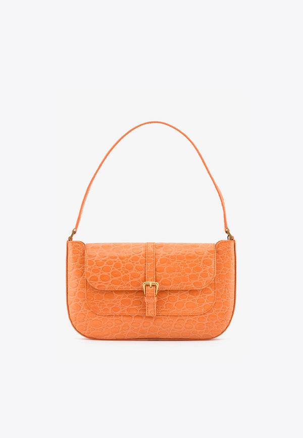 By Far Orange Miranda Shoulder Bag in Circular Croc-Embossed Leather 21SSMDASPAPCCEMEDORANGE