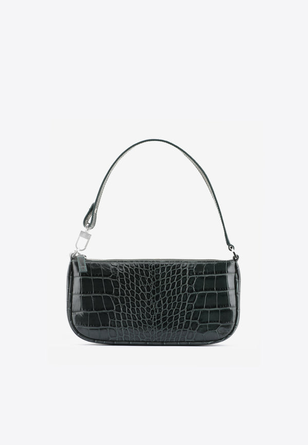 By Far Green Rachel Shoulder Bag in Croc-Embossed Leather 20CRRCLSDNDMEDDARK GREEN