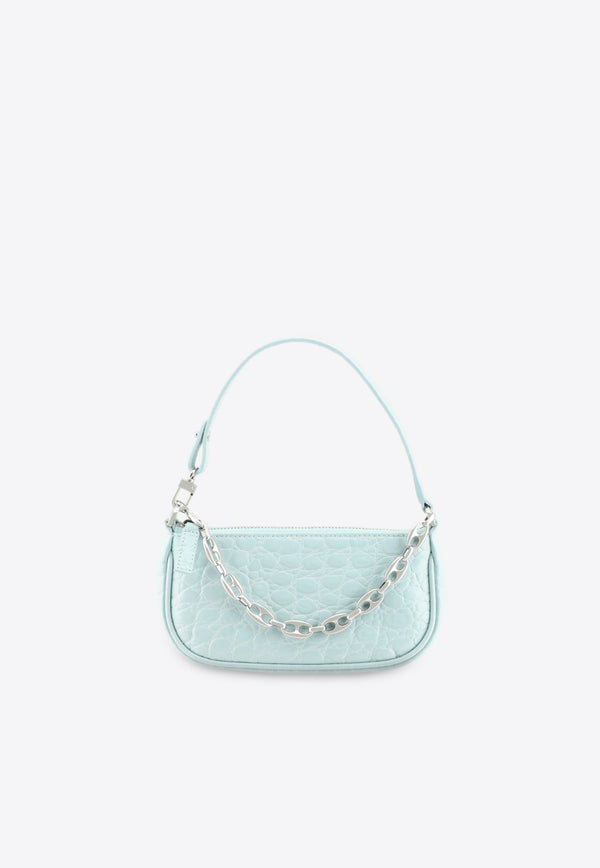 By Far Blue Mini Rachel Shoulder Bag in Circular Croc-Embossed Leather 21SSMIRAIceCCESMALIGHT BLUE