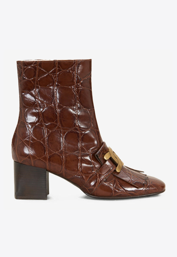 Kate 60 Ankle Boots in Croc-Embossed Leather