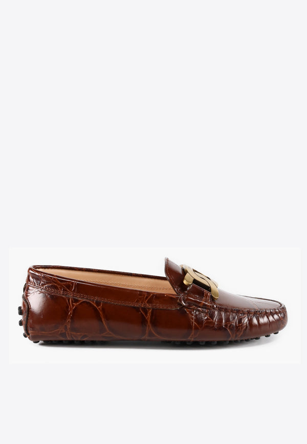 Kate Gommino Loafers in Croc-Embossed Leather