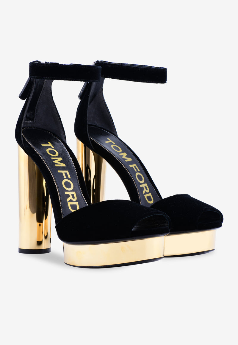 Velvet Platform Sandals with Block Heel - 130 mm