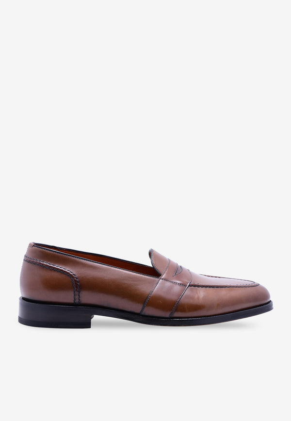 Wessex Polished-Leather Penny Loafers