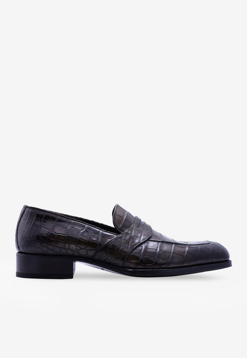 Edgar Crocodile Leather Twisted Band Loafers