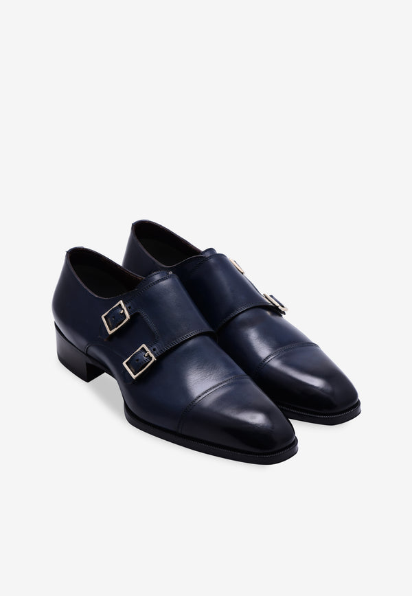 Elkan Leather Double-Monk Strap Shoes