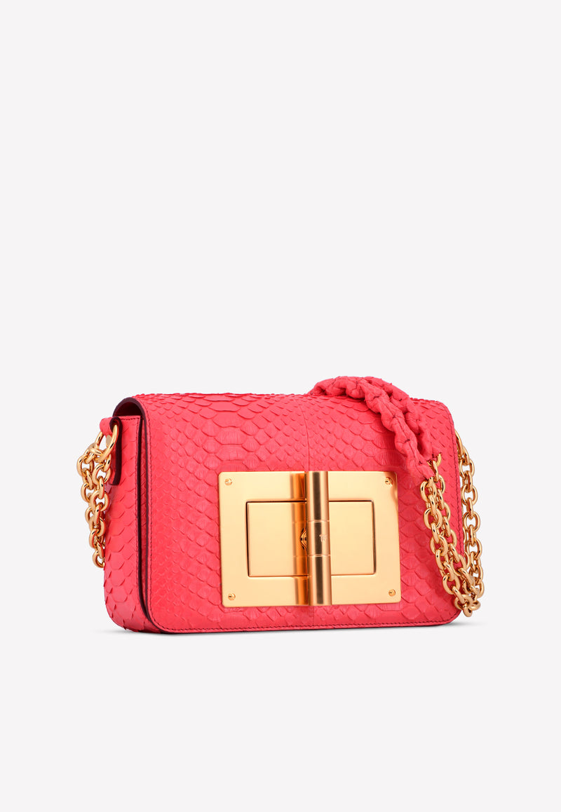 Medium Natalia Python Leather Bag with Turn-Lock