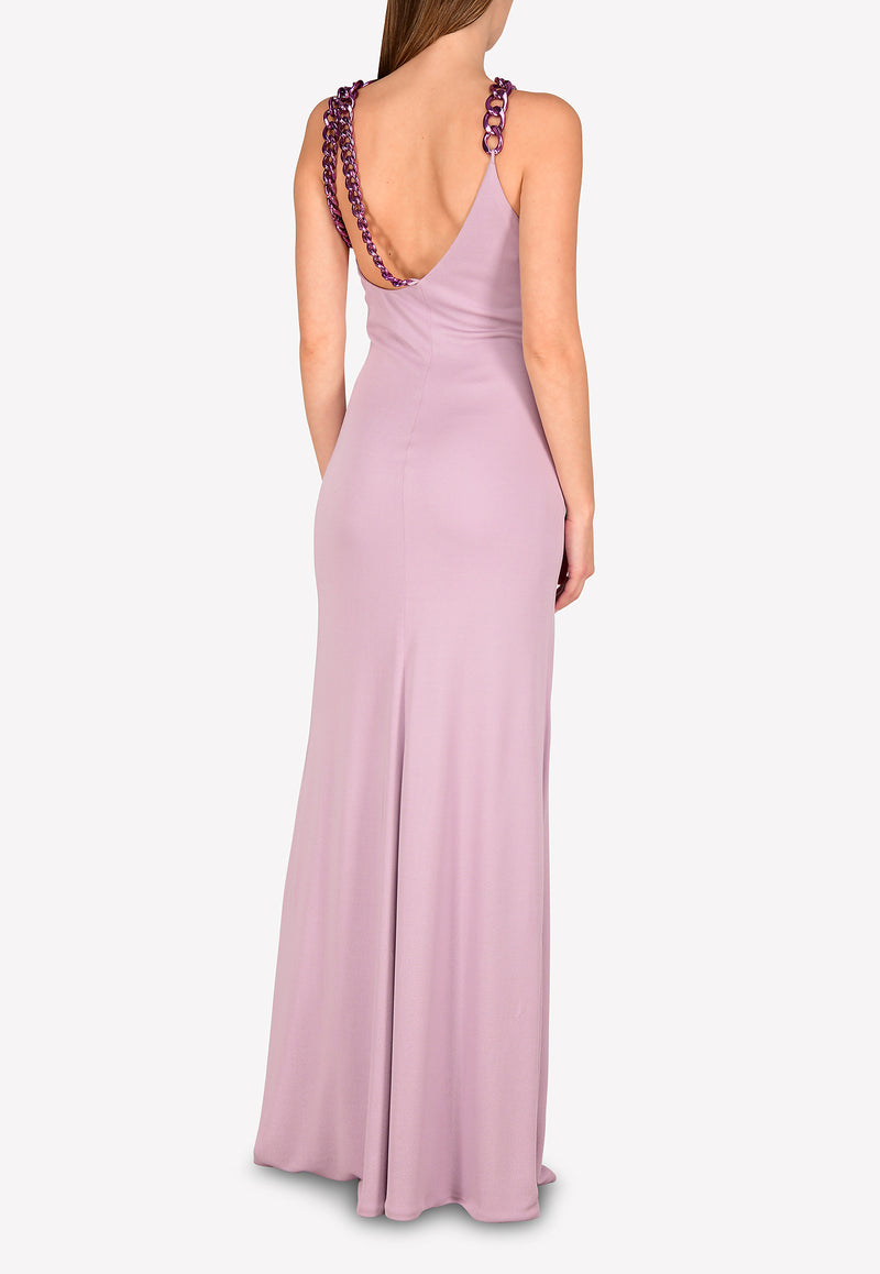Crepe Jersey Column Gown with Chain Details
