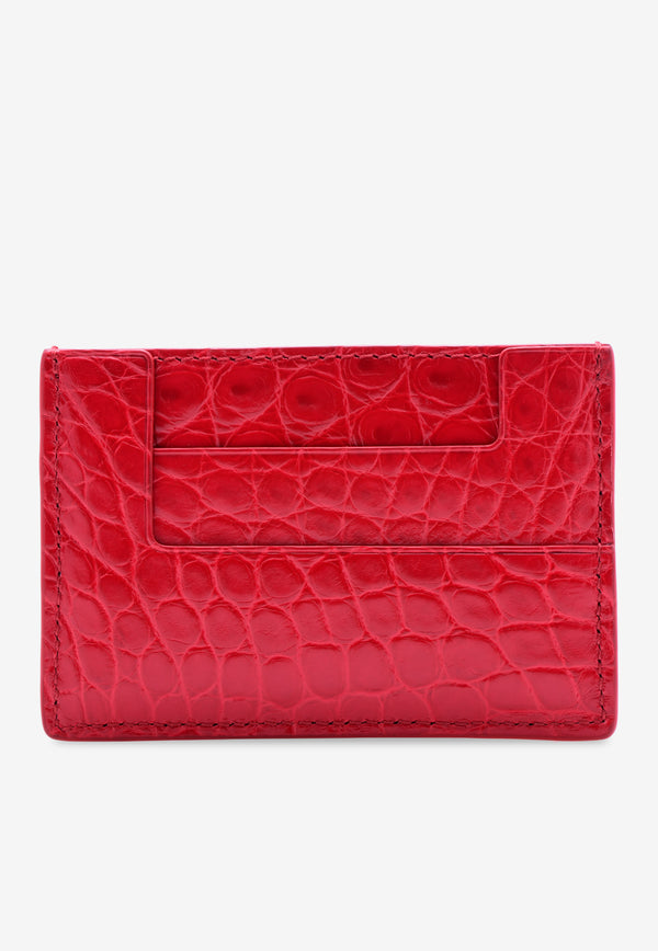 Alligator Leather T Line Cardholder