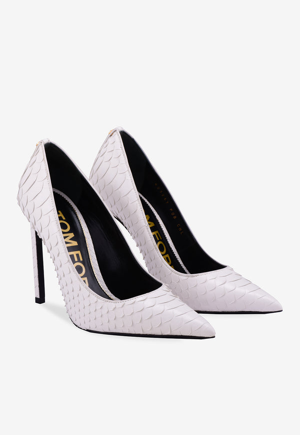 Python Leather Pointed Pumps - 105 mm