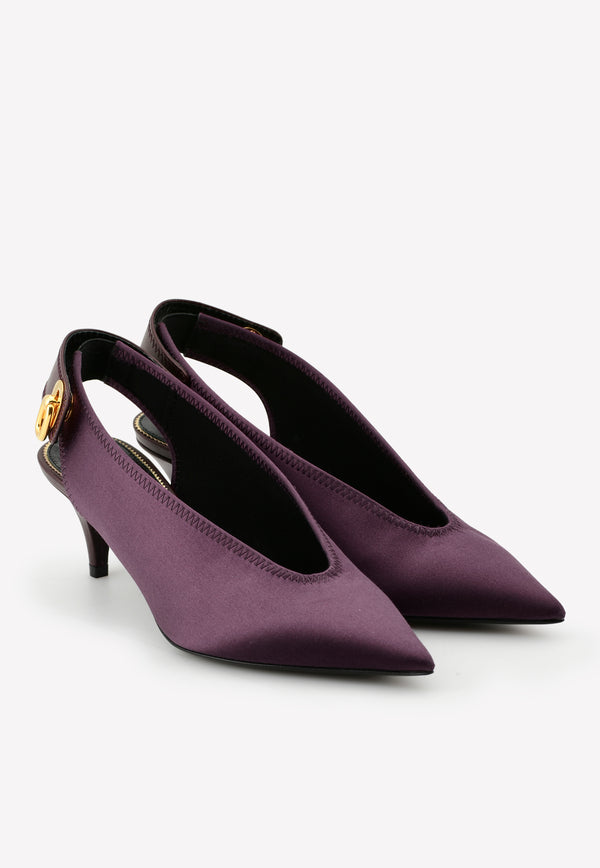 55 Pointed Satin Slingback Pumps
