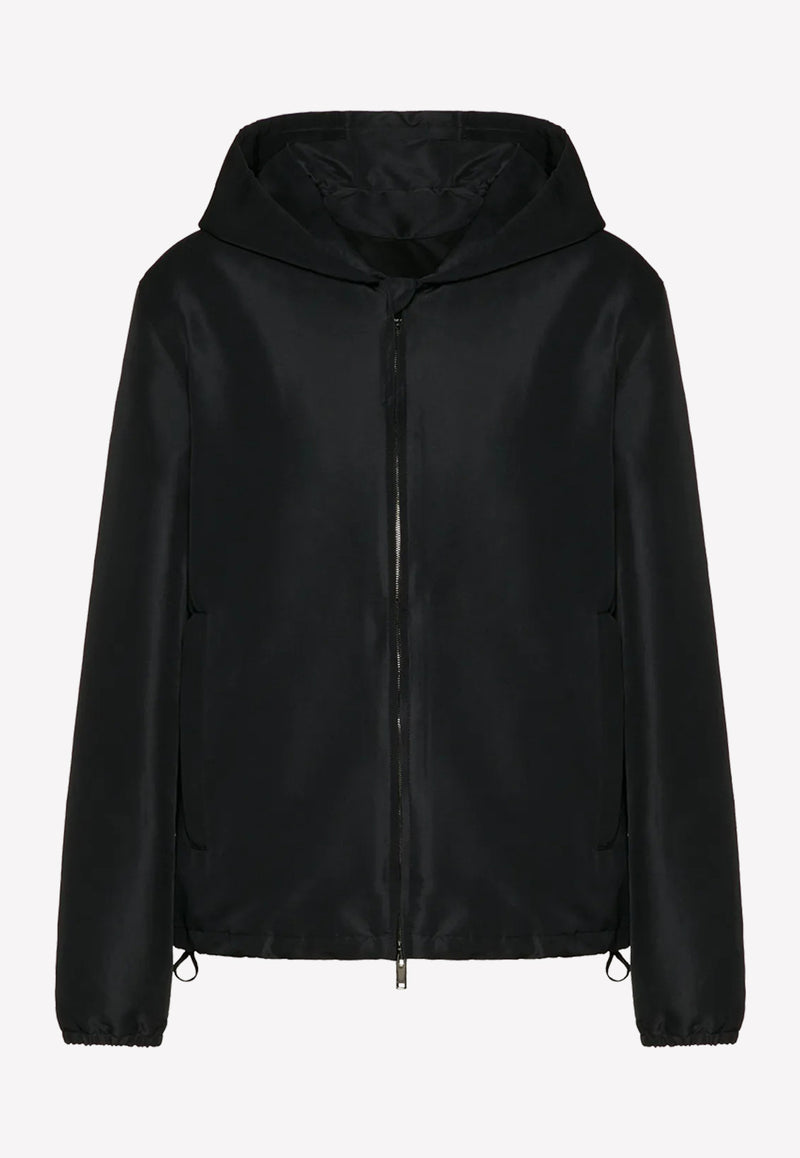 Hooded Jacket with Back Sequined Logo