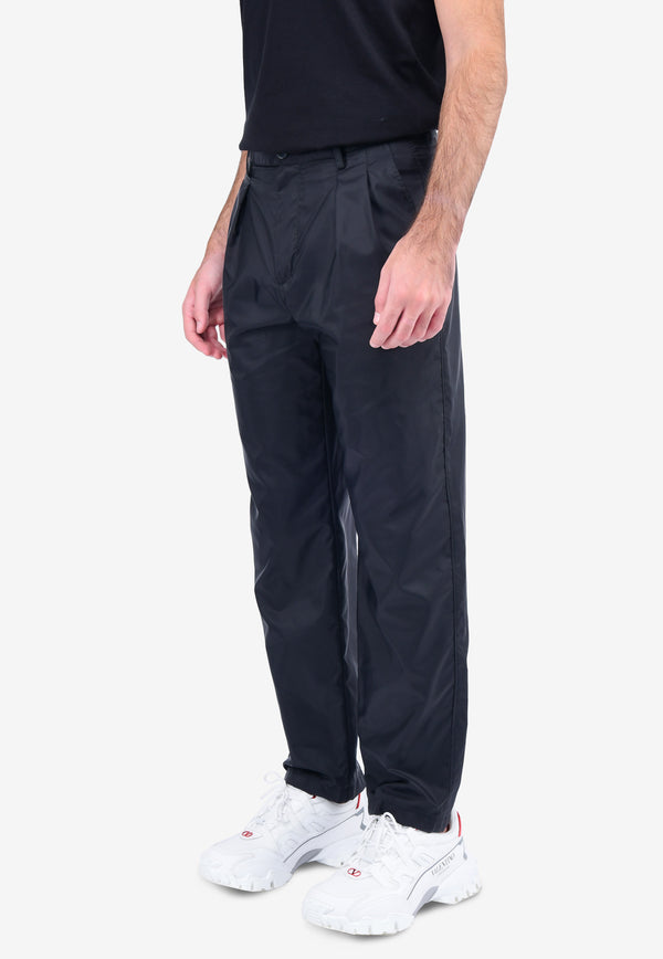 Pleated Straight-Fit Pants
