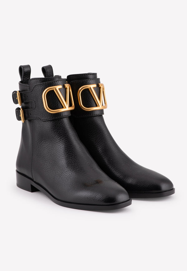 VLOGO Ankle Boots in Grained Calfskin