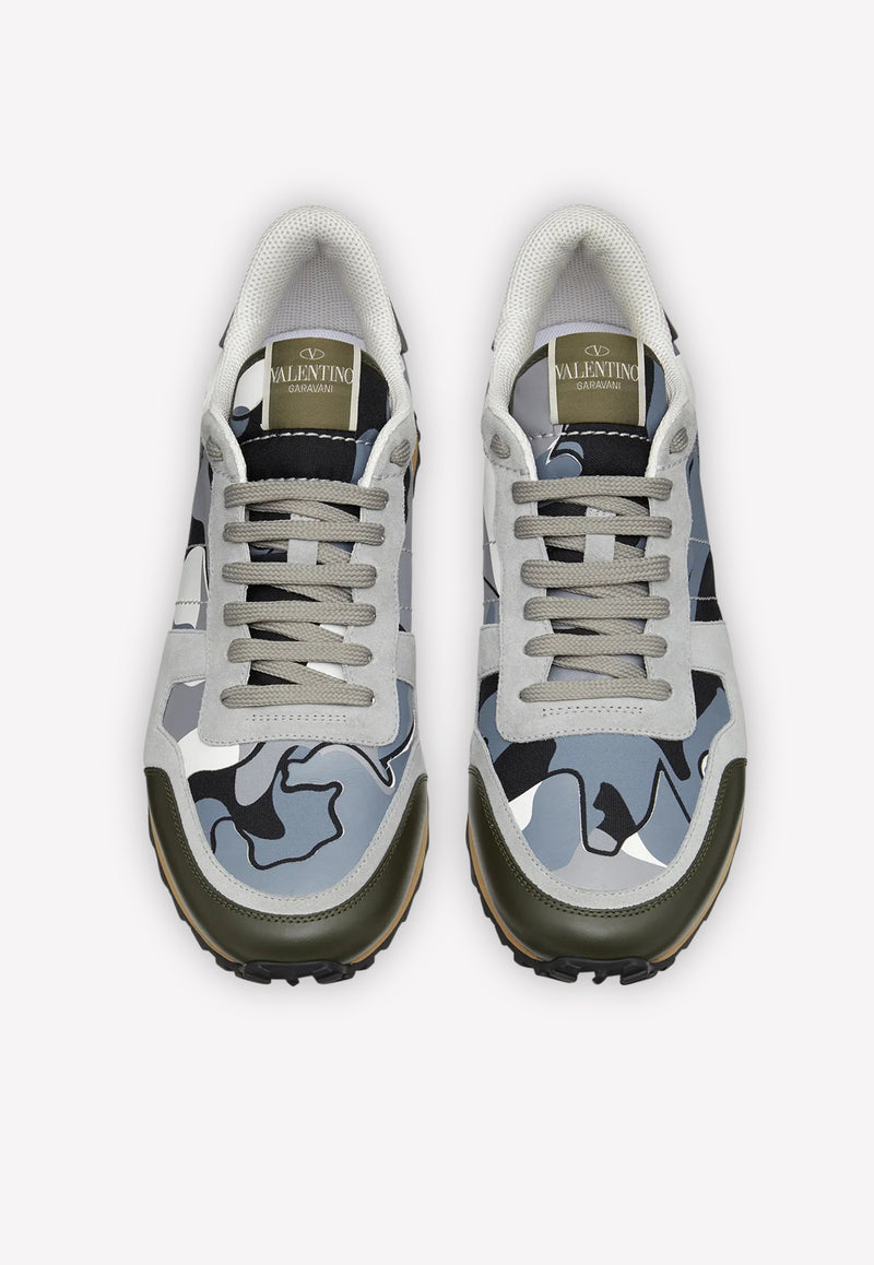 Rockrunner Camouflage Leather Sneakers with Rubber Stud Detail