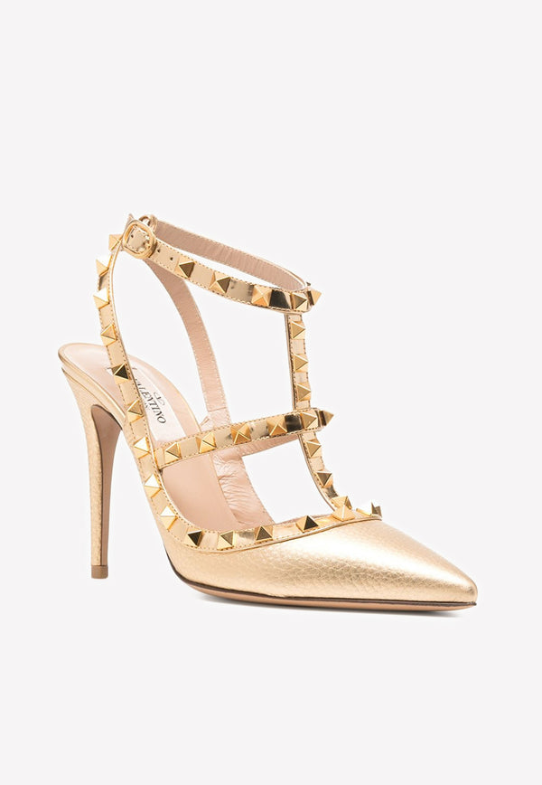 Rockstud 100 Metallic Leather Cage Pumps