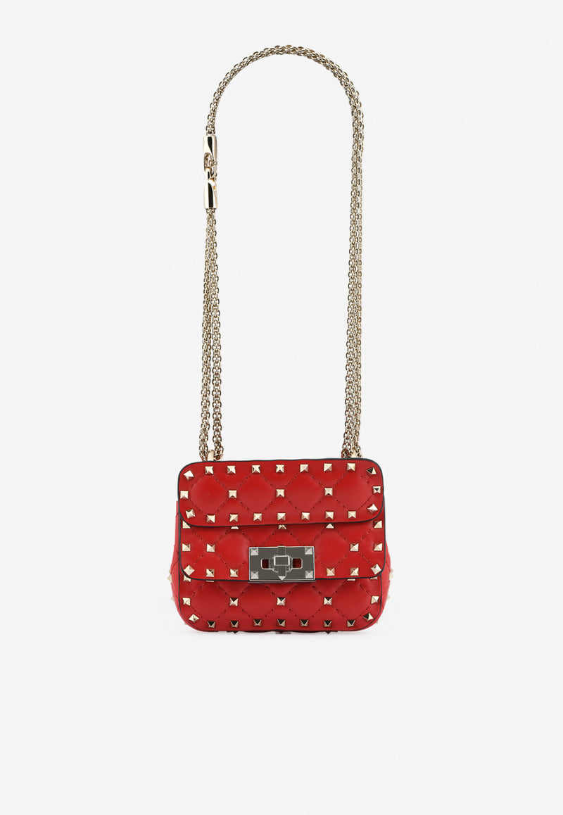 Micro Rockstud Spike Shoulder Bag in Quilted Lambskin