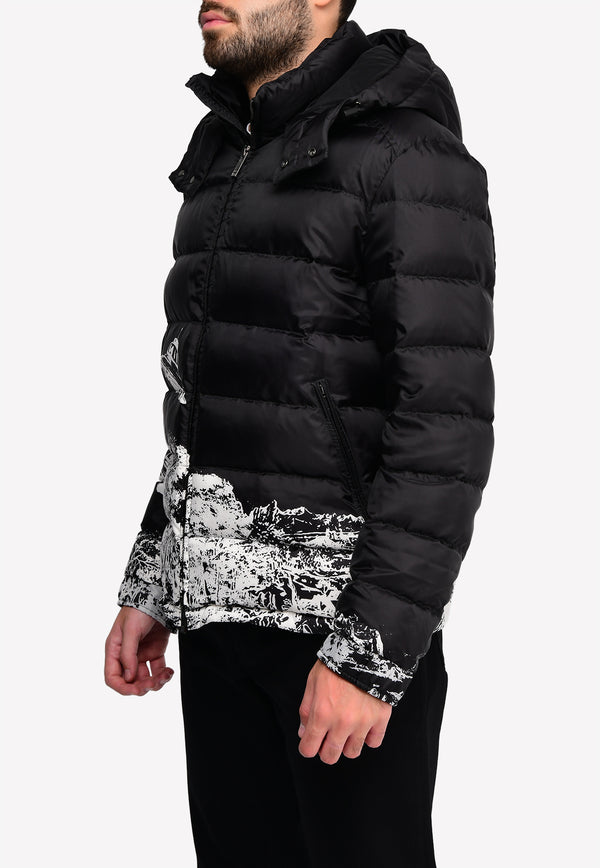 Undercover Time Traveler Print Puffer Jacket with Removable Hood