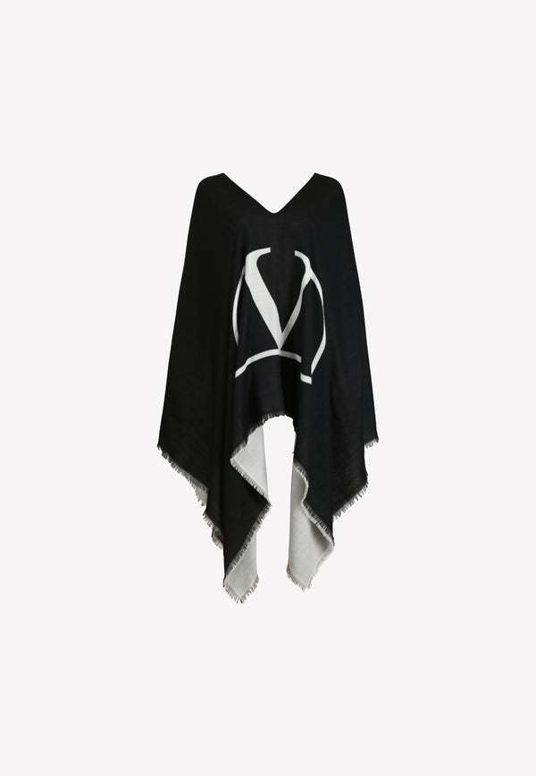 Cashmere Frayed Poncho with VLOGO Signature Print