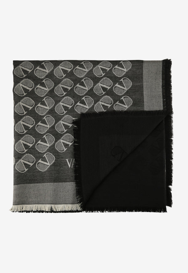 Fringed Silk Scarf with VLOGO Signature Print