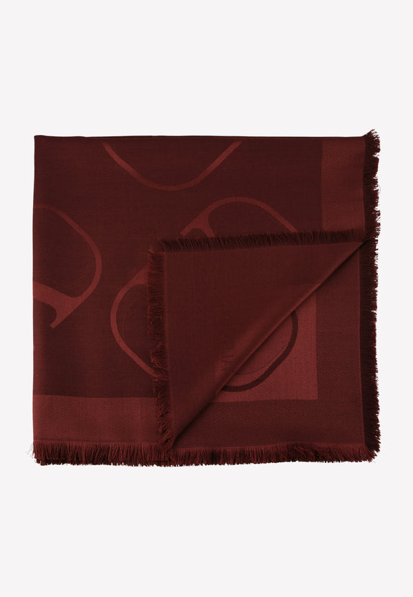 Jacquard Silk Scarf with VLOGO Signature Print
