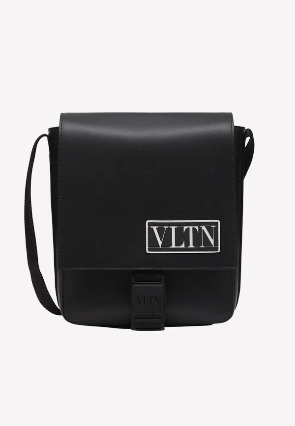 VLTN Calf Leather Crossbody Bag with Rubberized Logo Detail