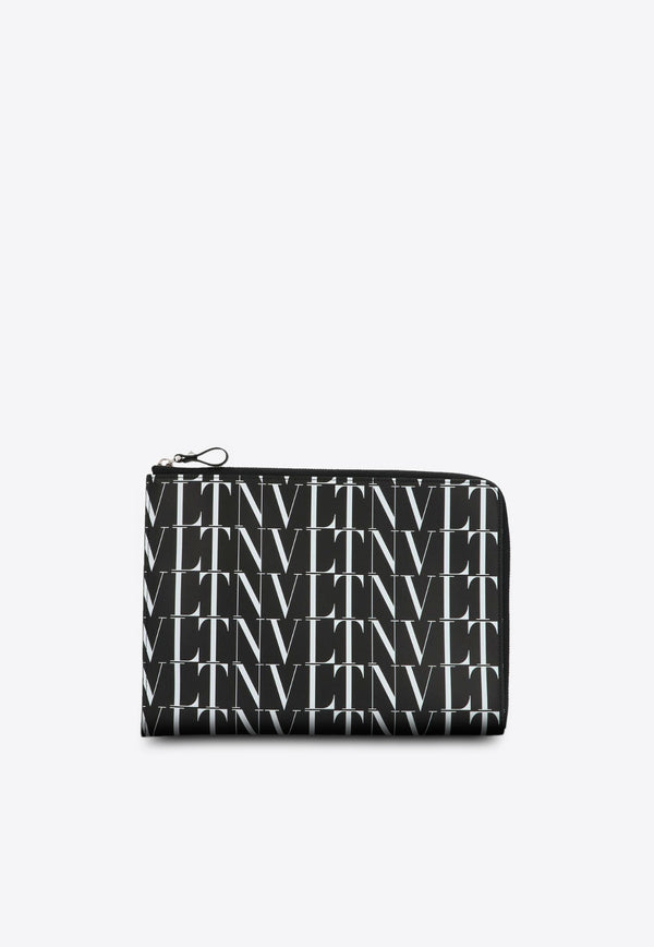 VLTN Leather Zipped Clutch