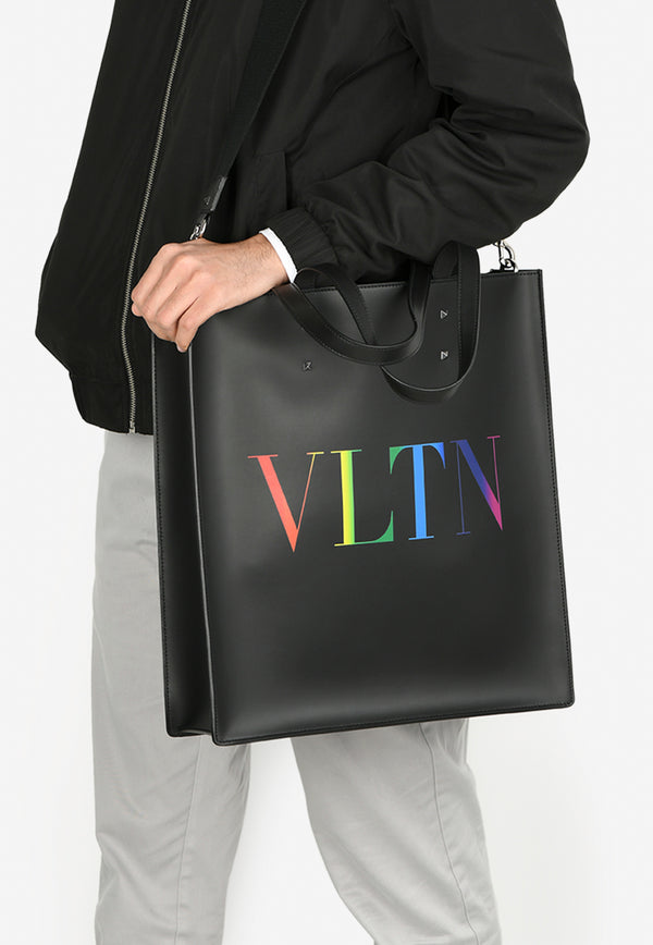 VLTN Leather Tote Bag with Multicolored Logo Print