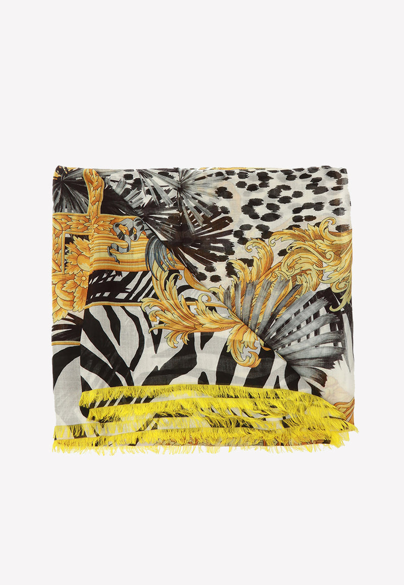 Baroque Animal Print Silk Blend Shawl