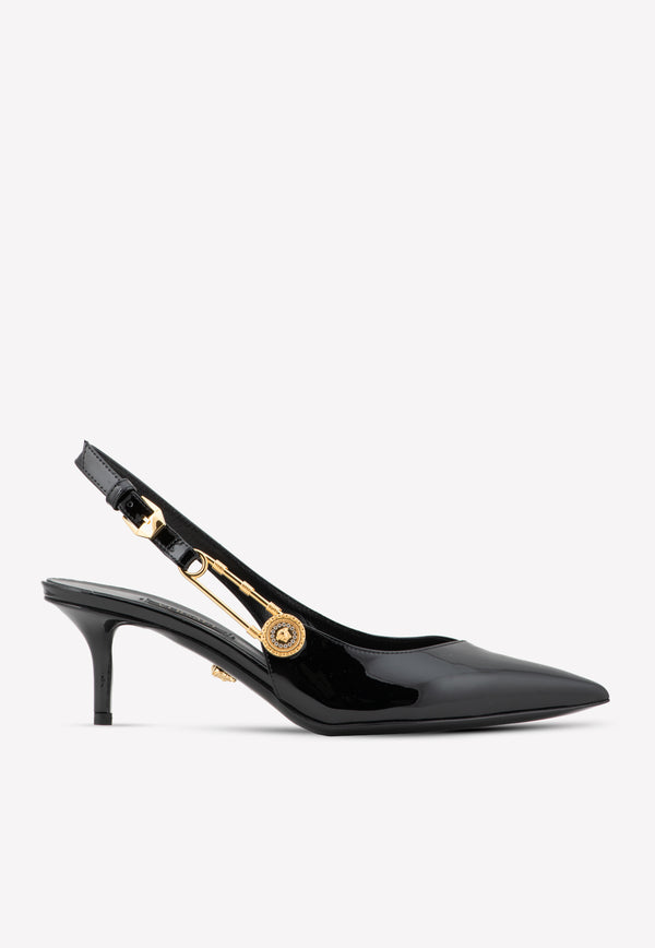 Patent Leather Safety Pin Slaingback Kitten Pumps 55 مم