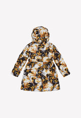 Girls' Acanthus Print Puffer Coat with Belt