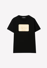 Girls' Cotton T-shirt with Gold Logo Plate