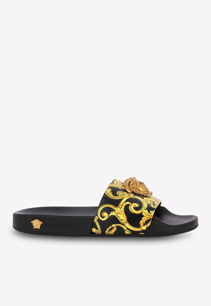 Medusa Barqoue Print Slides in Leather