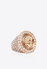 Medusa Crystal Embellished Gold Plated Ring