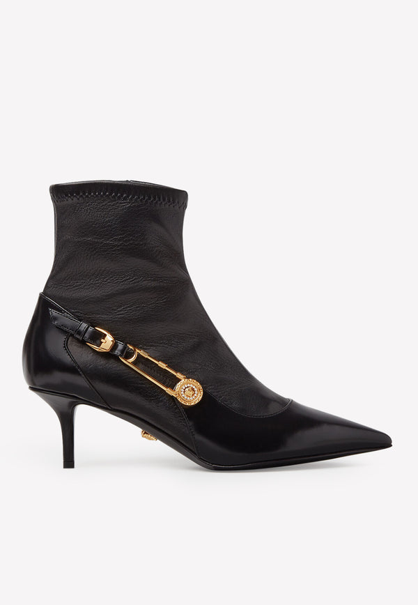 Safety Pin 55 Pointed Ankle Boots in Leather