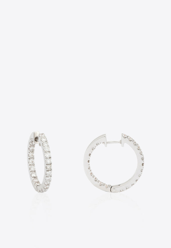 Diamond Hoops in White-Gold