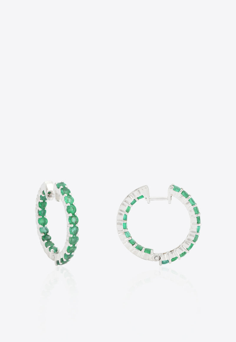 Special Order- Emerald Hoops in White-Gold