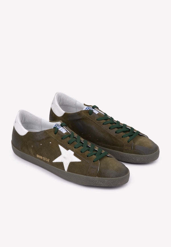Superstar Distressed Suede Sneakers with Contrast Heel Cap - Men