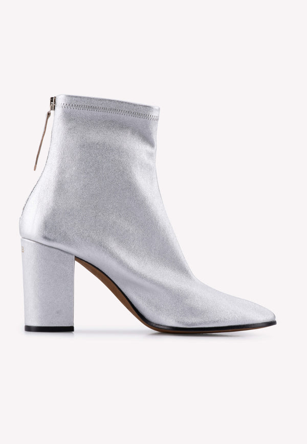 Metallic Leather Pointed Ankle Boots