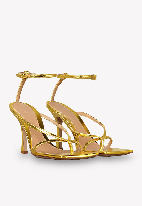 Stretch 90 Square-Toed Sandals in Calfskin