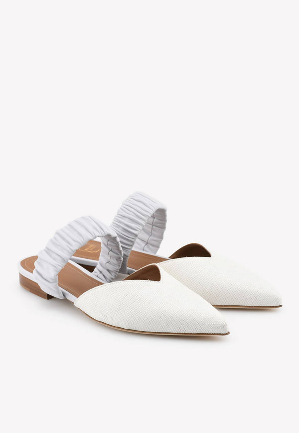 Matilda Flat Mules in Raffia and Nappa Leather-H