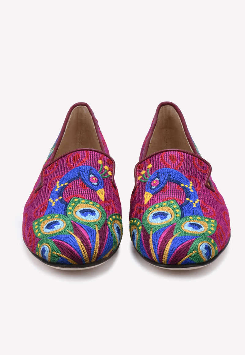 Peacock Leather Flats